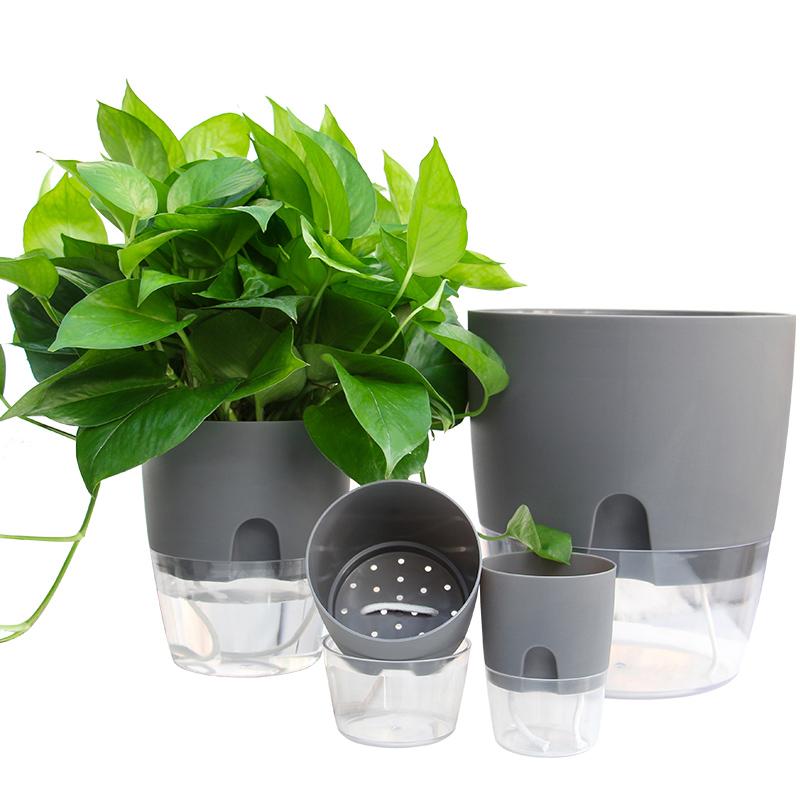 透明花盆双层绿萝盆自动吸水懒人塑料加厚花盆室内桌面创意储水盆