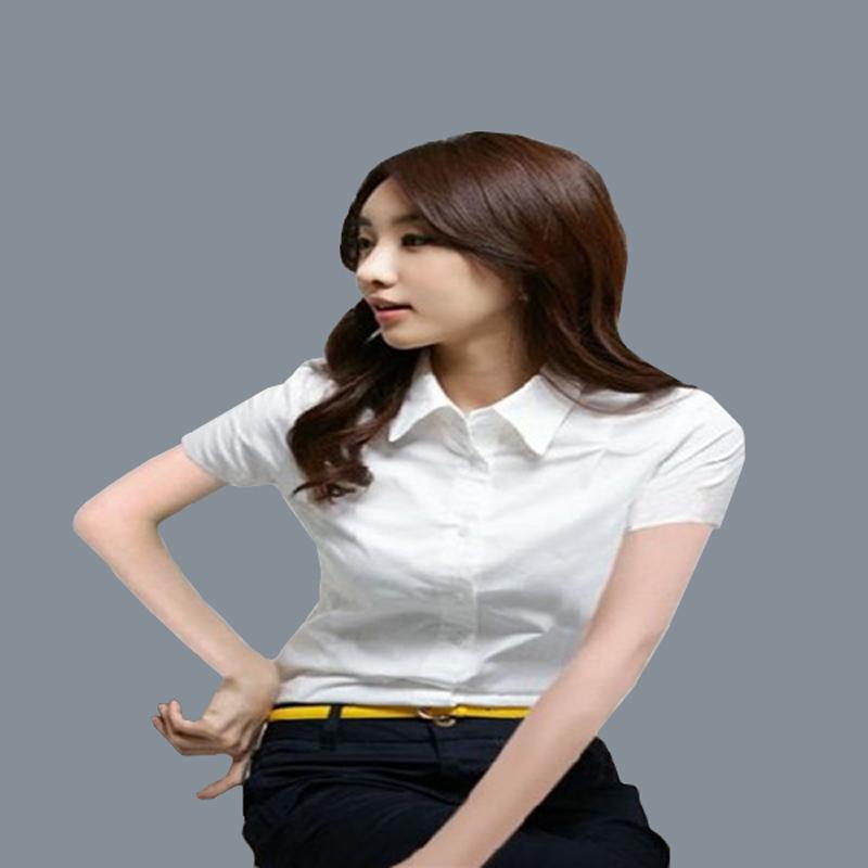 2018正品魅阿玛施族旗舰店官网女装新款白色短袖衬衫修身显瘦上衣