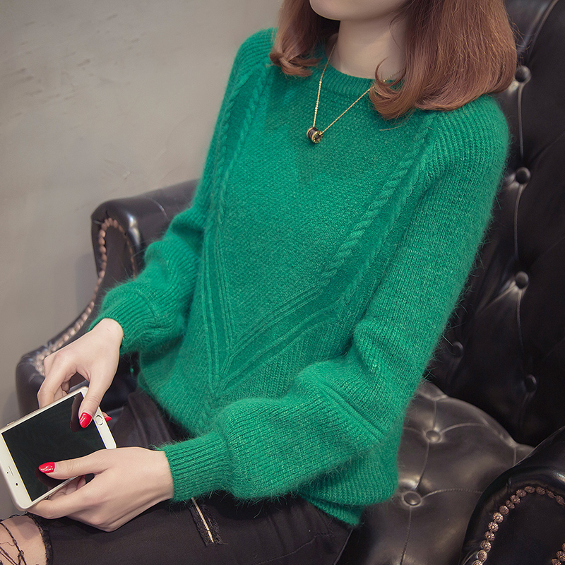 2018 new autumn / winter womens sweater womens Pullover short loose Korean version versatile long sleeve bottoming shirt looks thin and fashionable
