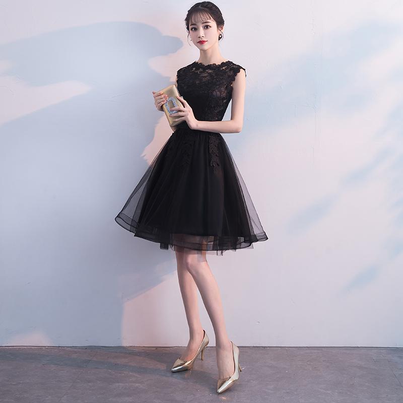 晚礼服裙女2018新款宴会高贵优雅洋装黑色性感名媛小礼服显瘦短款