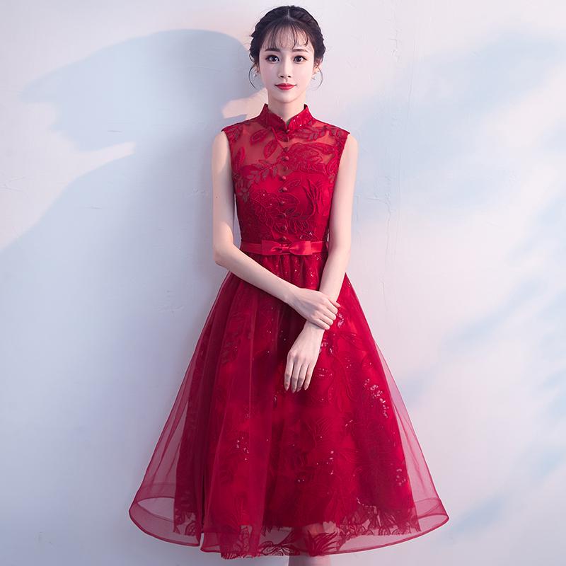 敬酒服新娘夏2018结婚新款优雅公主蕾丝晚礼服连衣裙红色中长款女