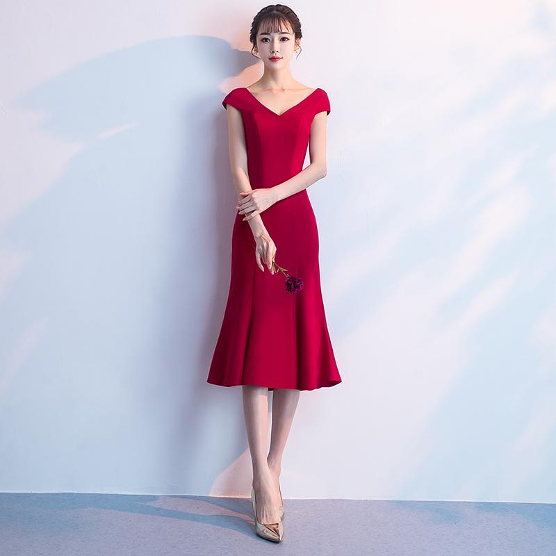 新娘敬酒服2018新款结婚秋季红色中长款鱼尾晚礼服女出阁服礼服裙