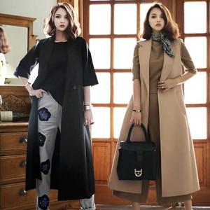 2021春秋新款韩版毛呢马甲女长款修身外套超长款过膝英伦大码女装