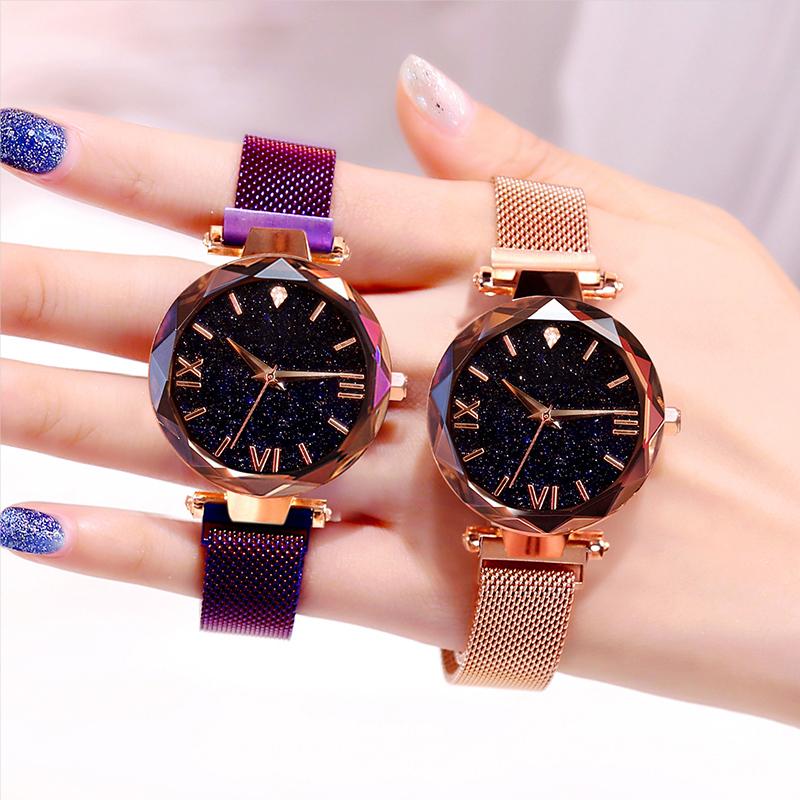 A货韩版简约满天星女士手表镶钻星空时尚钢带防水女表ins风石英表
