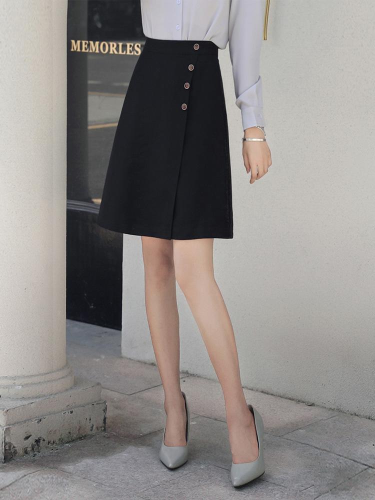 显瘦半身裙女春夏纽扣及膝a字工装高腰黑色西装正装中长款职业群