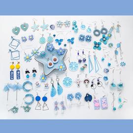 蓝色清新耳环几何猫眼石水晶珍珠耳钉超仙女翅膀长款流苏花瓣耳坠