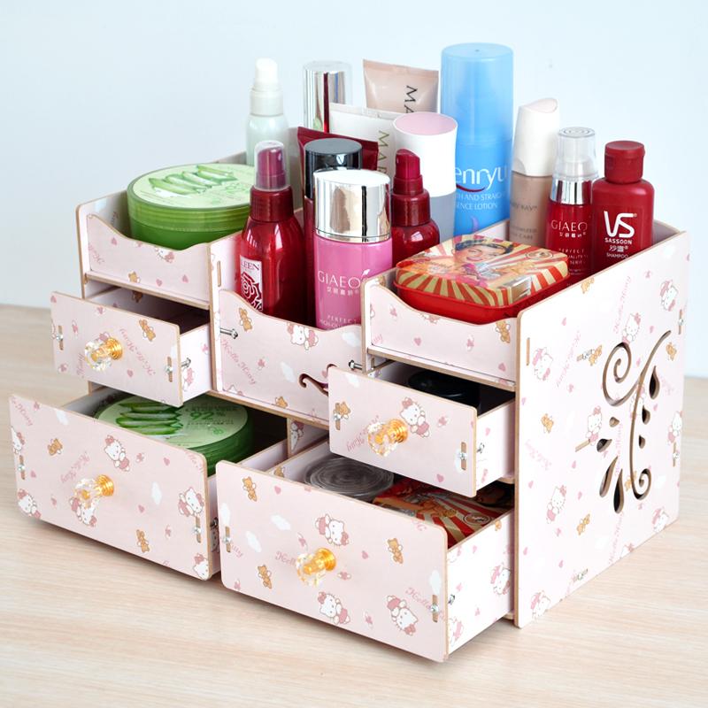 化妝品收納盒大容量置物架木質韓式簡約家用多層梳妝台整理盒