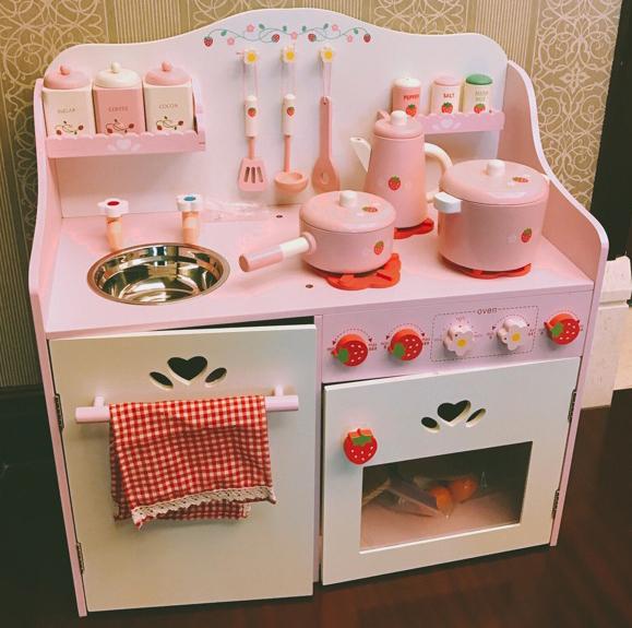 豪华厨房玩具套装做饭灶台男女孩过家家儿童木制仿真切切生日礼物127.11元包邮