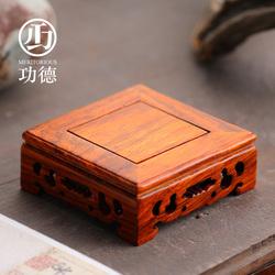 功德方形实木底座香薰炉家用室内木质底托工艺品茶壶花器香炉底盘