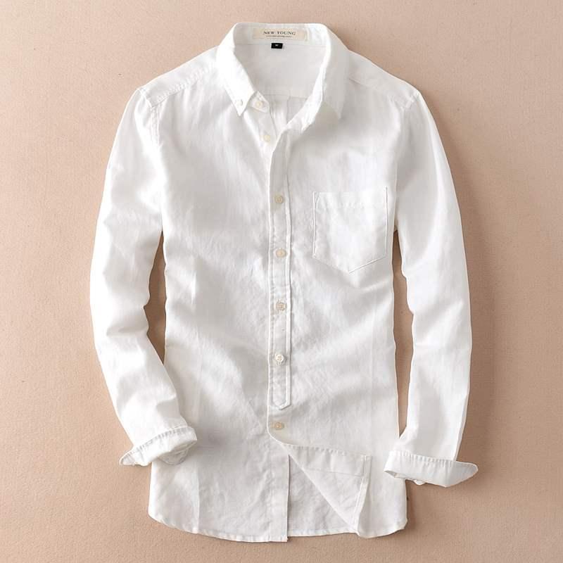 New literary Linen White Long Sleeve Shirt Mens fresh leisure versatile trendy thin solid cotton linen shirt slim fit
