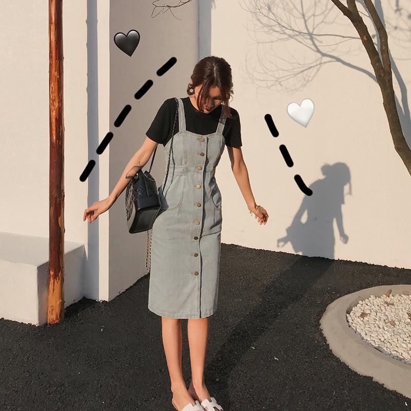 牛仔背带裙女春秋吊带连衣裙2020夏季新款收腰显瘦中长款过膝学生图片