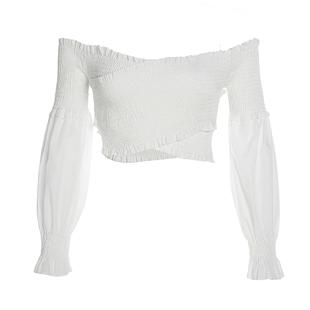 Amyway一字肩度假氣質復古T恤2020新款百搭顯瘦抽褶荷葉袖短上衣