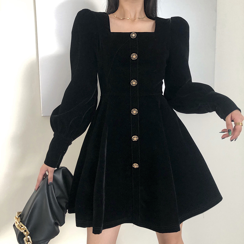 Amyway retro French velvet single-breasted design puff sleeve square collar dress with waist A-line skirt female