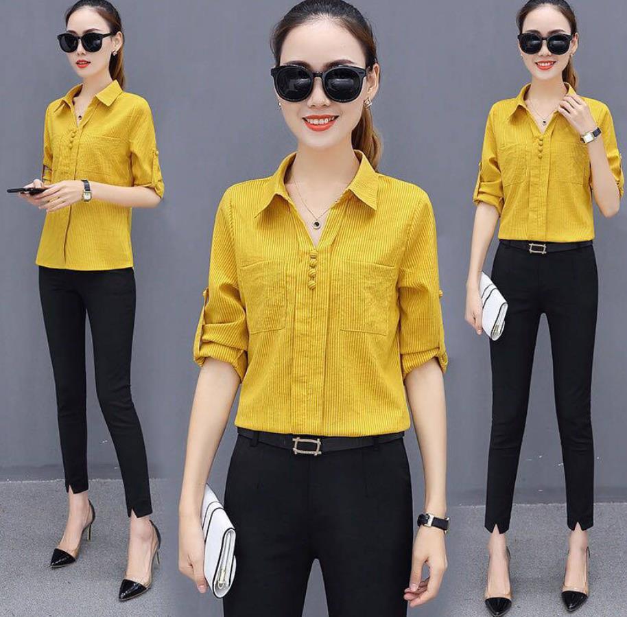 韩版女装衬衫长袖条纹衫2020春装新款打底休闲寸衫衣OL职业上衣女