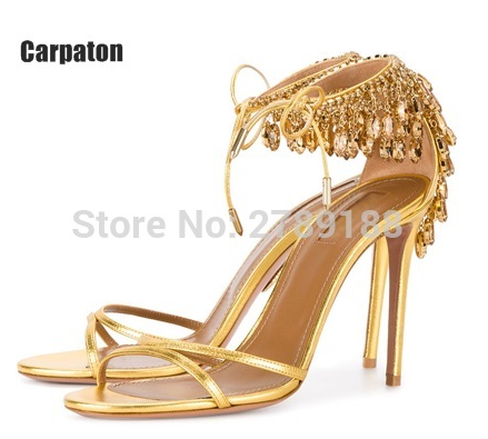 European and American Rhinestone button belt hollow Street Photo party high heel stiletto toe lady sandals