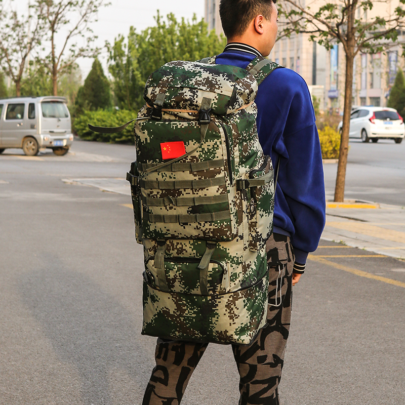 Camouflage backpack army waterproof steel frame super capacity army fan 115 liter tactics 85L backpack special soldier