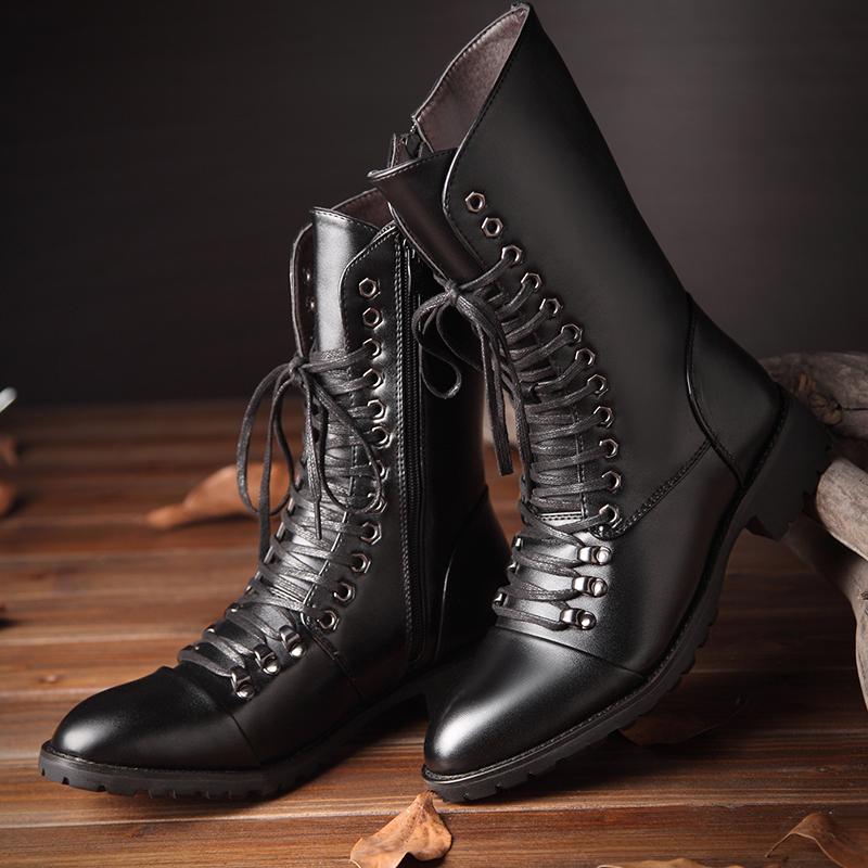 男士靴子中高筒马丁靴系带冬季加绒保暖长靴韩版英伦军靴高帮皮靴