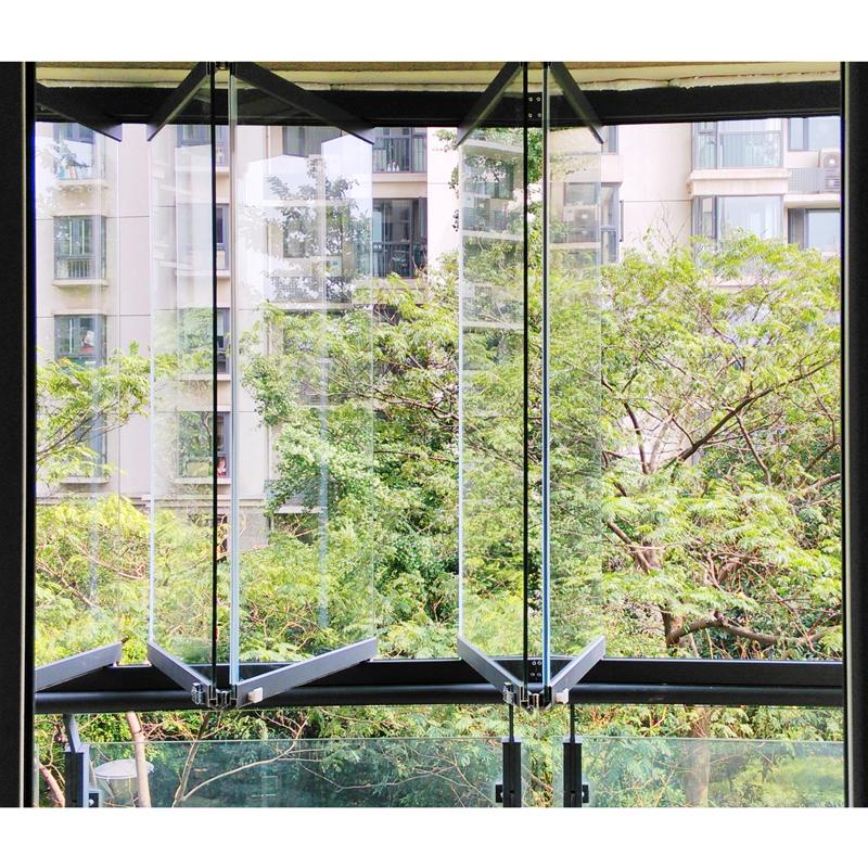 无框阳台窗户定制门窗封装直面折叠阳台玻璃窗定做8mm钢化玻璃