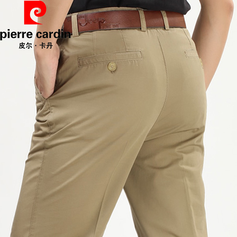 Brand casual pants mens summer light color thin pilka wrinkle resistant middle aged straight tube silk pure cotton mid high waist