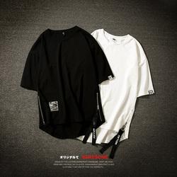 夏装新款 日系摆拍两侧拉链开叉短袖T恤宽松大码潮男A023-T7-P30