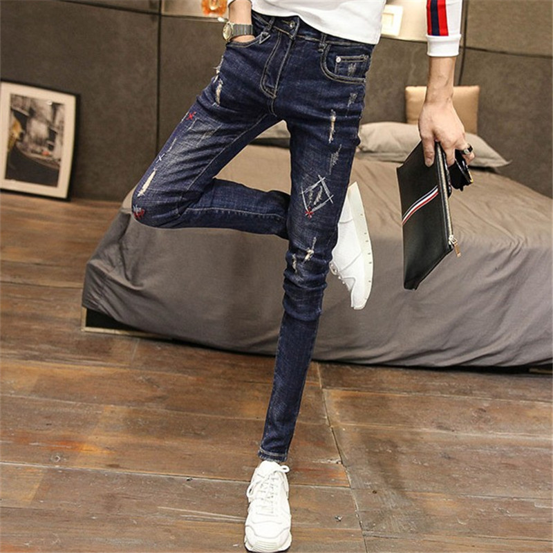 New 2020 mens slim fit small leg jeans mens slim pants embroidered trendy mens pants spring and summer