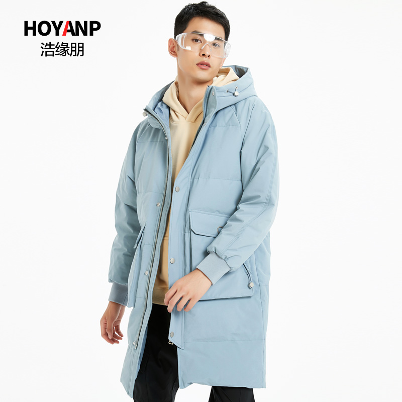 Haoyuanpeng mens medium long thickened down jacket mens large Hooded Winter Jacket off season clearance