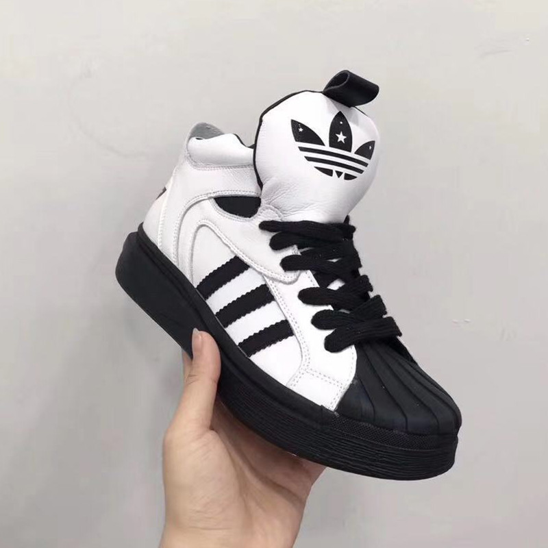 All leather classic three bars shell head black and white with high top leisure sports shoes