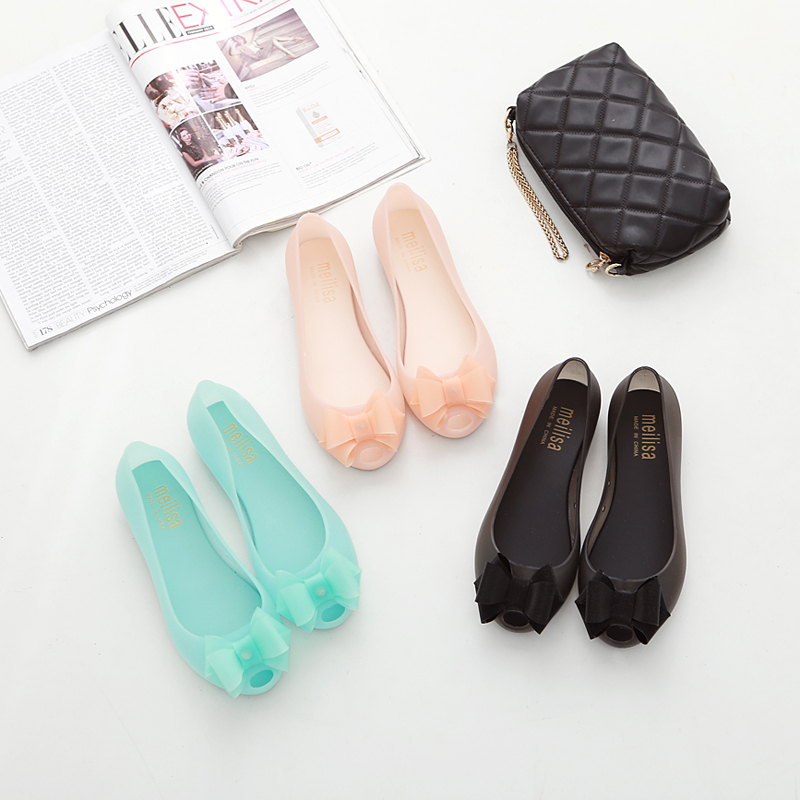 2020 new frosted fish mouth sandals cave sand beach plastic jelly shoes flat bottom flat heel bow sandals female summer