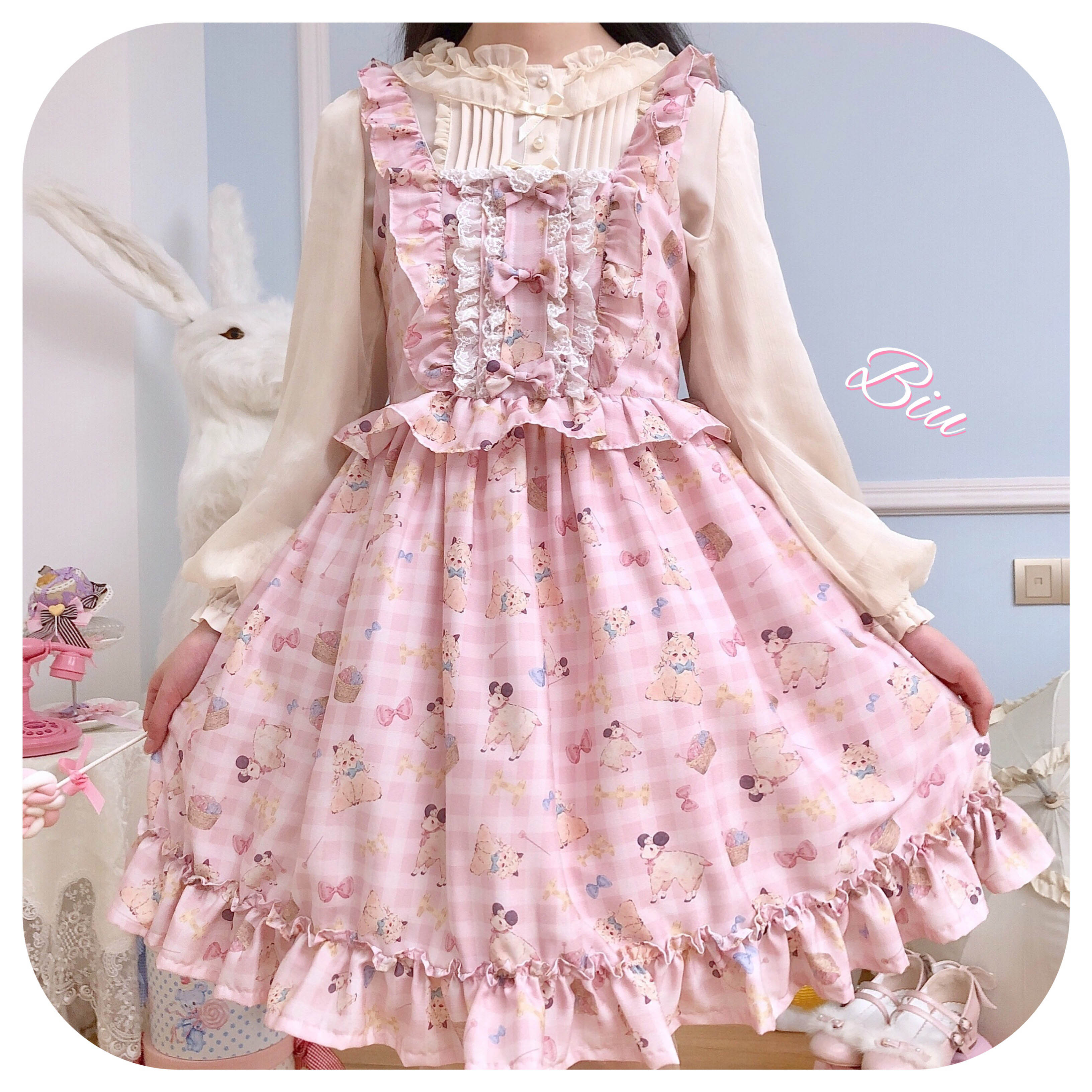 Starlight original ~ cotton ball sheep jsk ~ Cream Strawberry BAABAA Lolita Lolita Dress available
