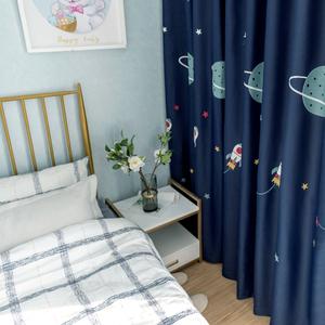 窗帘2019新款卡通全遮光定制儿童窗帘穿帘男孩卧室成品飘窗遮阳布