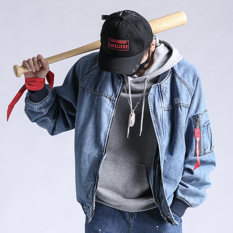 Autumn winter long sleeve Embroidered Denim mens loose Baseball Jacket jacket washed blue denim Hoodie Fashion Top