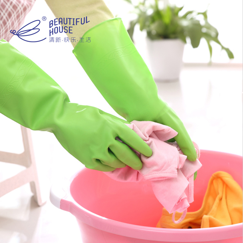 Fresh, beautiful, comfortable, kitchen, household, adhesive gloves, thin, waterproof, durable, hands-free, dishwashing and laundry