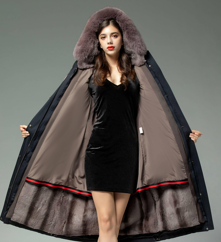 Parka womens 2020 new winter otter rabbit fur liner detachable knick coat medium length fox fur grass coat