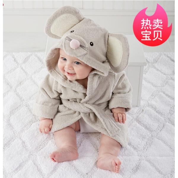 儿童卡通浴袍宝宝带帽睡衣婴儿纯棉毛巾料夏男孩女童吸水浴衣秋冬