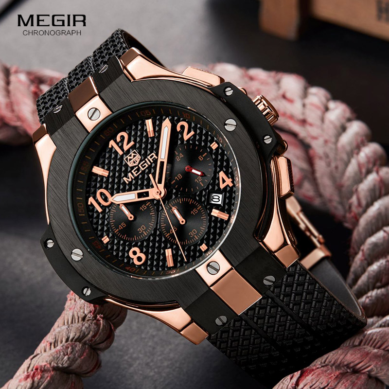 Miguel fashion mens personality hip hop watch rubber band waterproof watch college student watch mens six pin Large Dial Watch