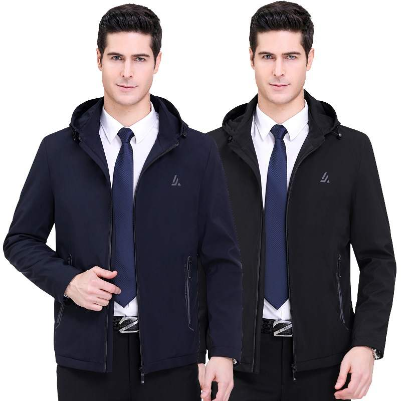 Brand mens spring and autumn jacket, thin leisure sports jacket, hooded short business jacket