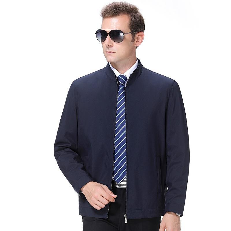 Mens wool silk jacket mens business leisure middle age Lapel zipper autumn comfortable warm jacket