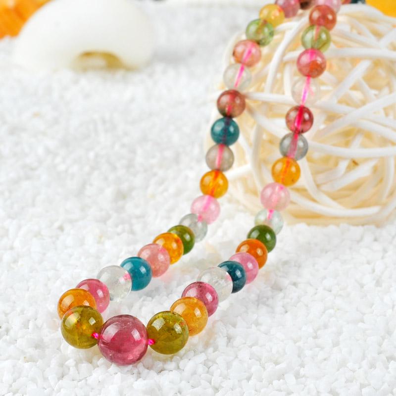 【悠之炏】天然碧玺项链 彩色宝石塔链 糖果色精致女人首饰锁骨链