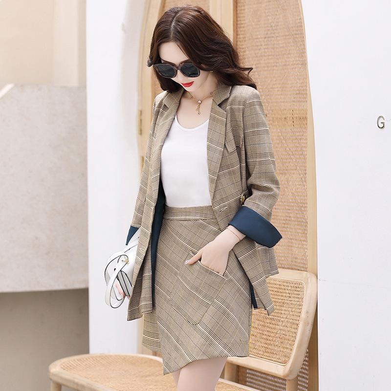2020 spring and autumn new two piece Plaid Blazer skirt Ruffle trouser skirt show thin temperament skirt suit autumn