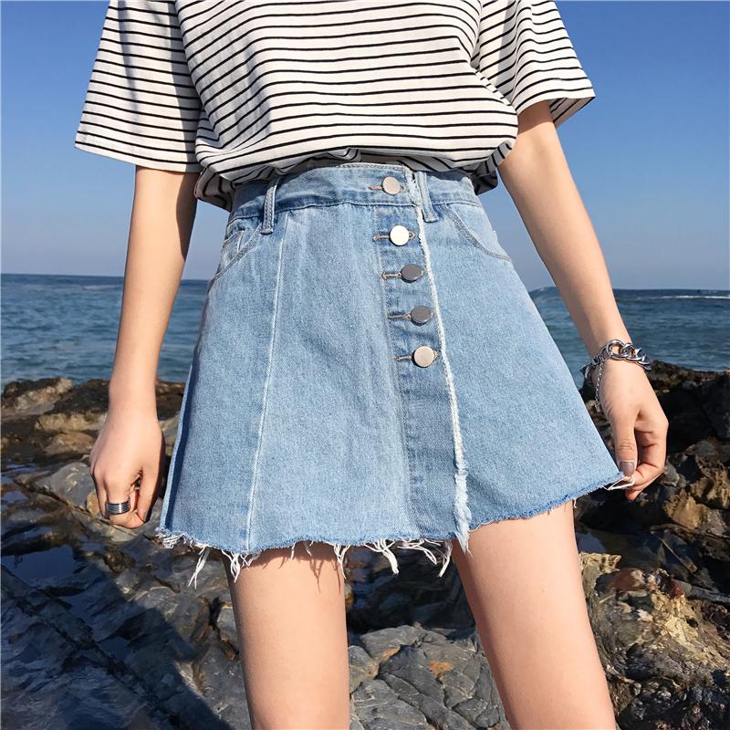 夏季2018新款韩版假高腰单排扣阔腿裤流苏边时尚学生牛仔短裤裙女