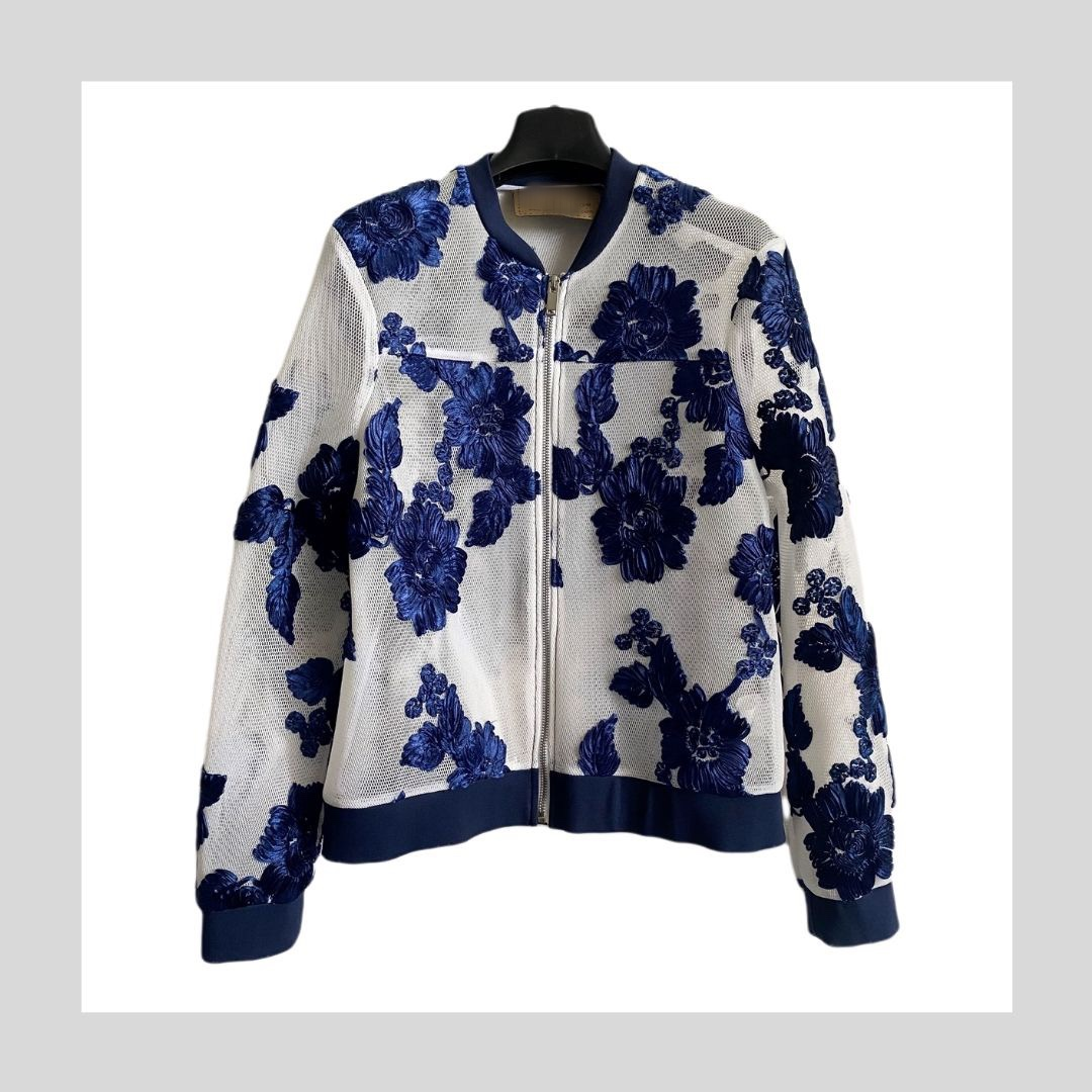 Myapril autumn white mesh blue 3d embroidery fashion sportswear womens jacket jacket