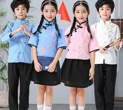 六一儿童男女童中山装五四青装朗诵摄影服装表演服长短袖抖音