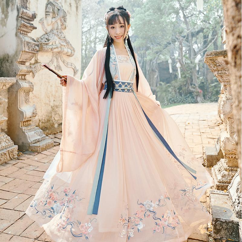 【十三余 小豆蔻儿】[桃夭]刺绣对襟衫6米摆一片式齐腰下裙汉服女 thumbnail
