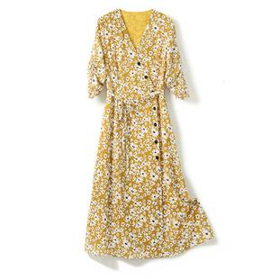 恩家匯 法式碎花連衣裙2020年夏季新款V領收腰淡黃色小雛菊茶歇裙
