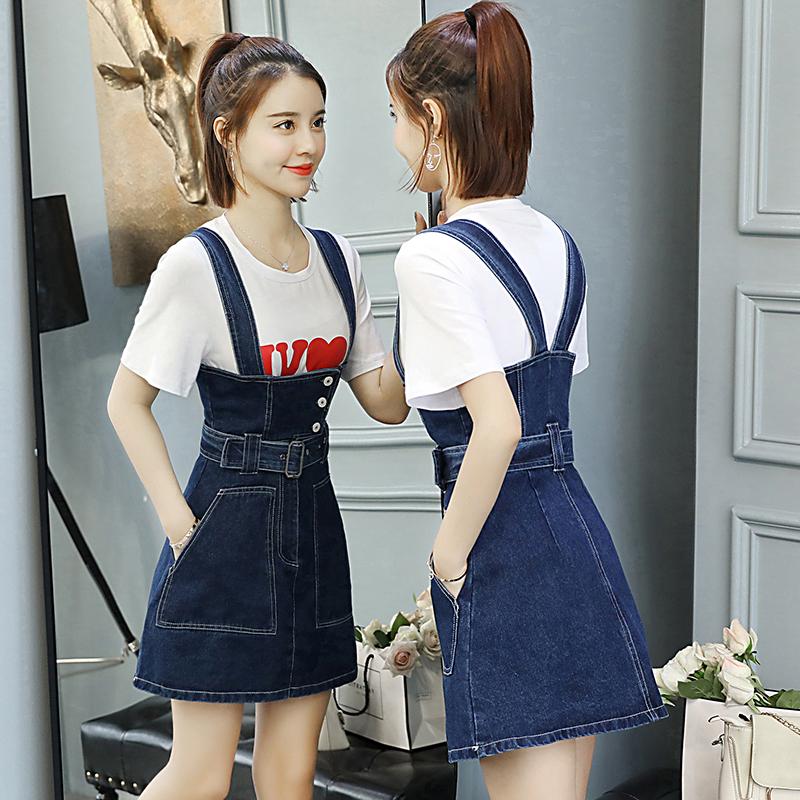 娇小矮个子150CM显高155夏季XS女装145T恤搭配牛仔背带裙两件套女