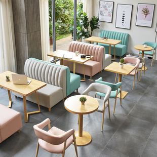 餐厅卡座靠墙沙发简约清新奶茶店饮品冷饮甜品汉堡烘焙咖啡店桌椅