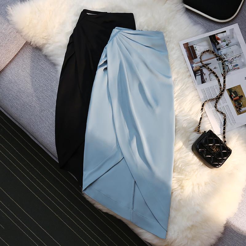 优雅气质褶皱不规则开叉半身裙女夏显瘦小众设计感包臀西装中长裙