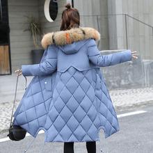 2020反季新款棉衣女中长款修身大码加厚羽绒棉服过膝棉袄女外套潮