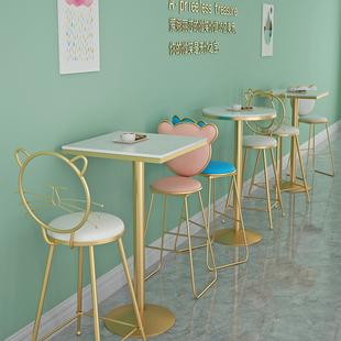简约奶茶店桌椅咖啡厅高脚桌椅休闲酒吧方圆桌简约桌椅三件套网红
