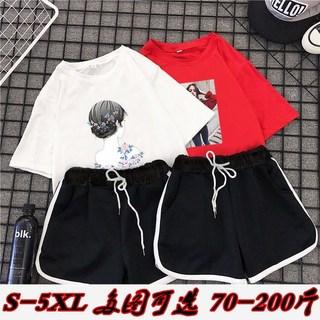 夏季学生短裤套装女韩版200斤胖mm加肥加大码女装微胖妹妹两件套